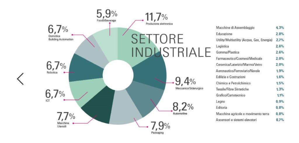 Torta con percentuali relative ai settori industriali presenti